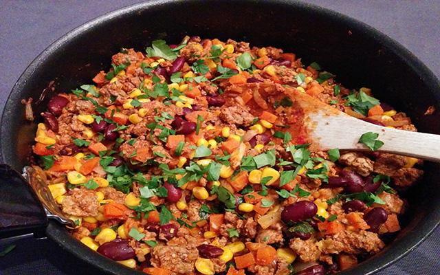 Recette du chili con carne mexicain au maïs